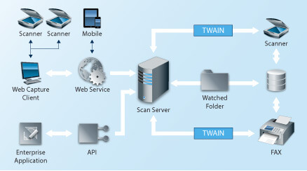 The scan server operates as a central PDF/A-conditioning instance